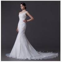 Buy cheap Ladies Organza mermaid One Shoulder Wedding Gowns cathedral train wedding dresses from wholesalers