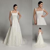 Wholesale A Line Lace Straps Womens Wedding Dresses Court Train with Flower Applique from china suppliers