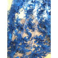 3D Rhinestone Beaded Tulle Fabric , Embroidered Royal Blue Lace Fabric For Bridal Gown