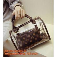 Buy cheap travel stand up zipper pvc leather cosmetic pouch lady bag woman make up, mini Jelly Candy Bag, PVC Fashion Women Hand C from wholesalers