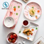 Buy cheap OEM ODM Pink 21pcs Childrens Ceramic Dinner Set Home Hotel Use from wholesalers