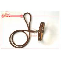 Buy cheap Chocolate Genuine Rope Custom Leather Dog Collars With Rivets from wholesalers