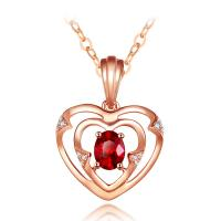 Romantic Ruby Pendant Necklace For Wedding , Ruby Heart Gold Necklace