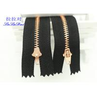 Buy cheap Semi Auto Lock Metal Open Ended Zips , Antique Copper Teeth Double Ended Zips For Coats from wholesalers