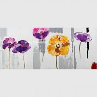 Buy cheap Hand Painted Abstract Art Canvas Paintings , Acrylic Purple Floral Wall Art from wholesalers