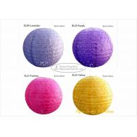 Buy cheap 35cm Eyelet Pink Round Paper Lanterns with Metal Wire material 14 inch from wholesalers