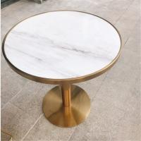 Buy cheap Contemporary design Round Gold stainless steel Marble top Bistro table Coffee table for hotel Club Cafe from wholesalers