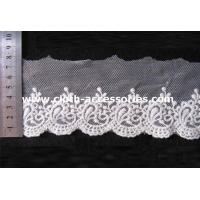 Buy cheap Fringe Mesh Crochet Embroidered Lace Fabric Trimmed Per Roll 15Yds from wholesalers
