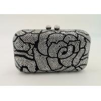 Buy cheap Flower Pattern Small Rhinestone Evening Bags Hard Case With Hot Fix Crystal from wholesalers