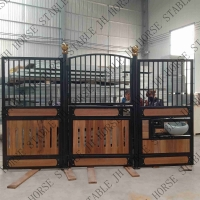 Buy cheap 2mm Thickness Black Powder Coated Steel Frame Wood Filling Horse Stall Front from wholesalers