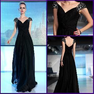 Simplestyle Elegant Sheath Standard Size Ruffle Black Chiffon Evening Dress Fashion 2012 (ZX-279) Manufactures