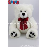 Wholesale White Stuffed Bear Animal Plush Teddy Bear Toy With Wine Red Ribbon As Nice Gift from china suppliers