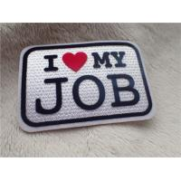 Buy cheap Slogan Logo I LOVE MY JOB Plush Chromatically Flocking Two Color Clothes Patches from wholesalers