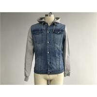 Buy cheap Light Wash Mens Denim Jacket And Jean With Brushed Fleece Sleeves / Detachable Hood from wholesalers