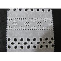 Buy cheap Water Soluble White Eyelet Cotton Lace Trim / Cotton Antique Lace Trimmings CY-CX0182 from wholesalers