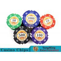 Buy cheap Sticker Pure Casino Poker Chip Set With UV Logo , Ceramic Poker Chip Sets  product
