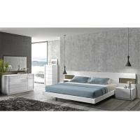 Buy cheap Turkish Cream Gloss Bedroom Furniture Sets , E1 MDF Long Headboard Bed from wholesalers