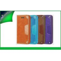 Buy cheap Shockproof Purple Apple Iphone Leather Cases For Iphone 5s , Cell Phone Flip Covers from wholesalers