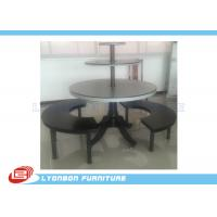 Buy cheap Round Black Clothes Shop Display Table With Metal Support / Solid Wood Feet from wholesalers