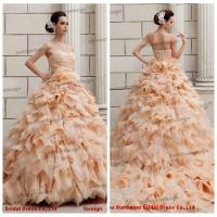 Buy cheap Lastest Real Sample Off Shoulder Floor Length Puffy Organza Skirt Wedding Gown Designs from wholesalers
