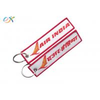 Buy cheap Letter Embroidered Keychain Tag Rectangle Shape Twill Background Fabric from wholesalers