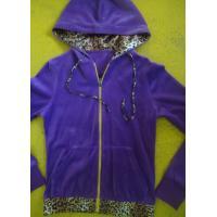 Purple Velour Color Block girls Zip Up Hoodies With Kangaroo Pocket High End for sale