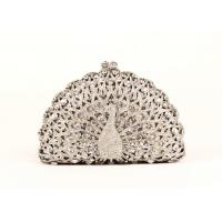 Sparkling Animal Women Stone Clutch Bag Hollow Out Peakcock Shaped