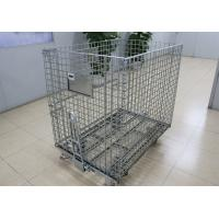 Buy cheap Heavy duty collapsible galvanized mesh pallet container with runner bar from wholesalers