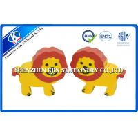 Cartoon Animal Promotional TPR Kids Erasers 3cm × 1.2cm Red and Yellow Lion shaped Manufactures