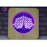 Buy cheap Acrylic 3D LED Illusion Lamps Plastic Wooden Grain Visual Light Smart Color Changing from wholesalers