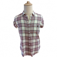 Buy cheap Summer Cotton Shirt Fashion Turn down Collar Woman Tops Woman Short Sleeve Slim Fit Plaid Shirt Blouse and Tops from wholesalers