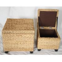 Buy cheap Cattail storage ottoman, rush storage stool, footstool, hand woven storage stool from wholesalers