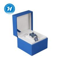 Buy cheap Blue Leather Single Watch Gift Boxes 12x12x8 Gold Silver Foil Stamping from wholesalers