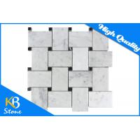 Decorative Italian Bianco Carrara White Marble Basketweave Mosaic Wall Tile With Black Dots Manufactures