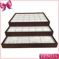 Buy cheap Portable PU Synthetic Genuine Leather White Velvet Stacking Stackable Jewellery Jewellers Jewelry Trays from wholesalers