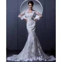 Simple Lace Bra long train Ladies Wedding Dresses strapless wedding gowns with Invisible Zipper Manufactures