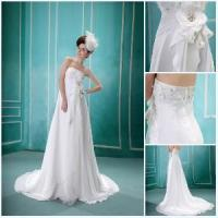 2012 Sleeveless Applique A Line Beaded Floor Length 2012 Wedding Dress (BS-014) Manufactures