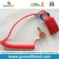 Buy cheap Custom Red Safety Spiral Cord Tool Holder W/Webbing&Carabiner Hook from wholesalers