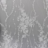 Buy cheap Delicate Embroidery Polyester On Nylon Mesh Lace Fabric With 3D Flower Design from wholesalers