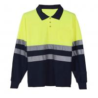 Buy cheap Long sleeve Reflective Safety Hi Vis Polo Shirt OEM breathable quick dry work wear unisex heat sublimation printed from wholesalers