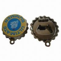 Buy cheap Zinc Alloy Beer Cap Bottle Opener Keychains, Customized Designs are Accepted product