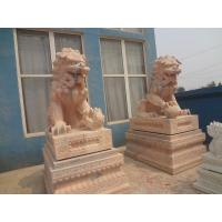 Wholesale sunset red western stone marble lion statues from china suppliers