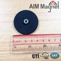 Buy cheap n42 round rubber coating pot magnet block magnets from wholesalers
