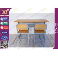 Buy cheap Customized Size Double Student Desk And Chair Set For School Kids with Plywood + Steel Material from wholesalers