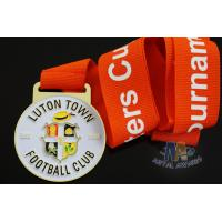 Wholesale Custom Metal Zinc Alloy Football Medals Soft Enamel with Europe Printing Ribbon from china suppliers