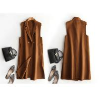 China Long Pink / Kahki / White / Camel Wool Blend Winter Coat / Office Lady Waistcoat Vest on sale