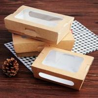 Buy cheap disposable kraft take away food packaging box with window from wholesalers