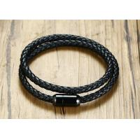 Wholesale Double Woven Genuine Leather Clasp Bracelet 39CM Stainless Steel Black IP Plated Magnet Buckle from china suppliers