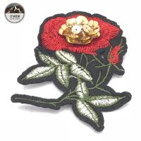 Buy cheap Handmade Rose Personalised Sew On Patches 6 * 8.5CM Size With Pin Backing from wholesalers