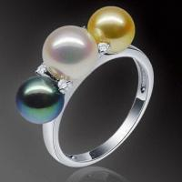 Buy cheap Akoya Pearl Ring, 18K Gold Pearl, with Diamonds, Customized Sizes are Welcome from wholesalers